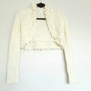 WHBM cream confetti trim cropped bolero sweater